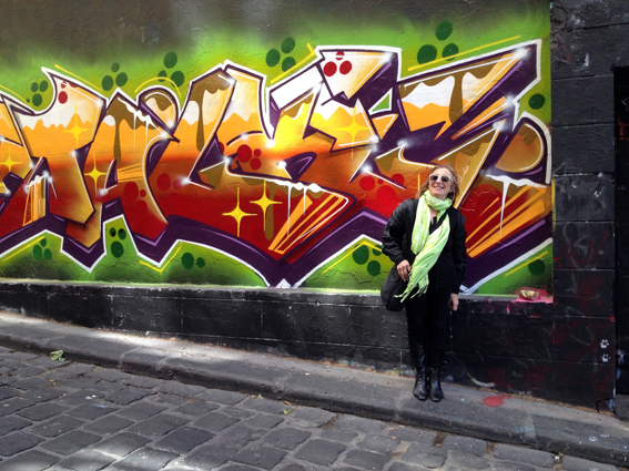 Co-curator Dianna Gold in Hosier Lane, Nov 2013. photograph © Carmel Wallace