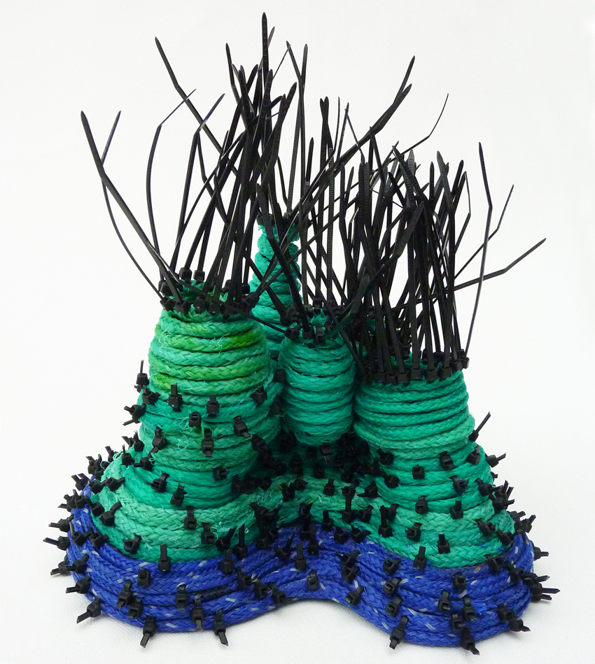 CARMEL WALLACE_Hybrid Reef 3_2015_beachfound fishing ropes & cable ties_H23xW22xD19cm