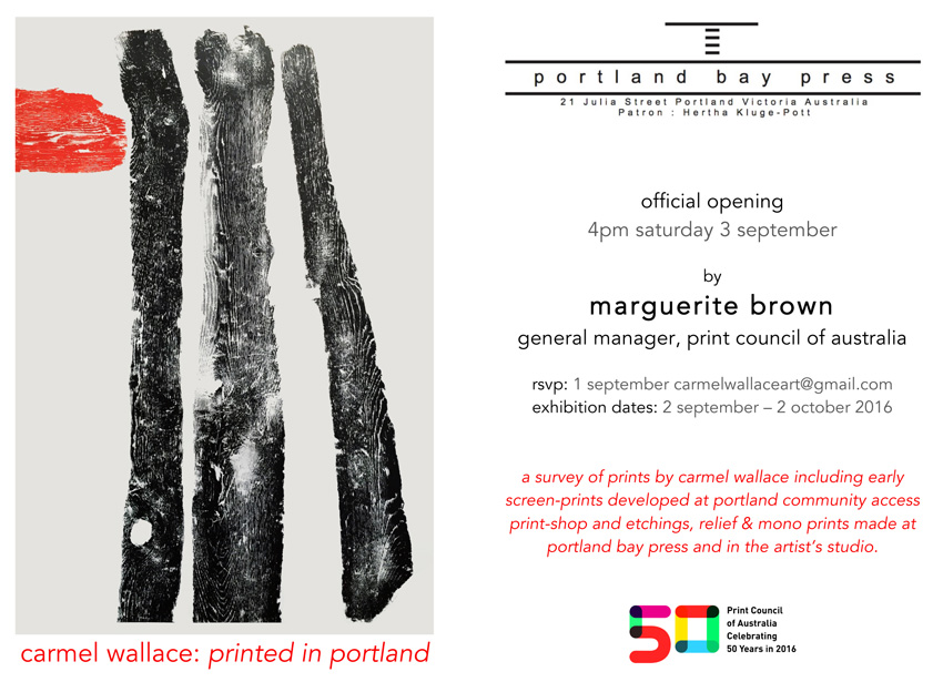 Carmel Wallace 'Printed in Portland' exhibition invitation