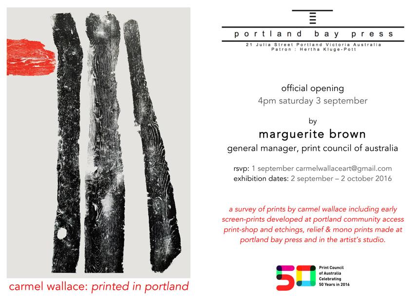 Carmel Wallace 'Printed in Portland' exhibition invitation