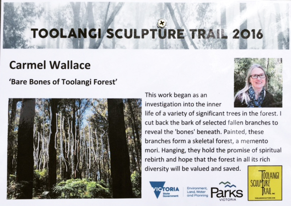 Carmel Wallace_Toolangi Sculpture Trail sign 2016